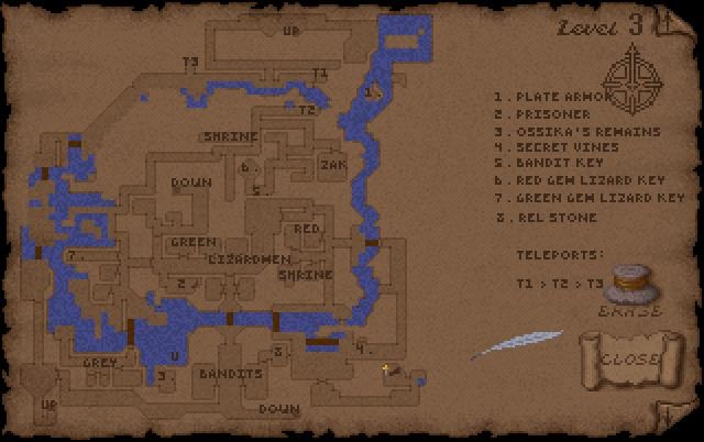 Ultima Underworld Level 3 Map