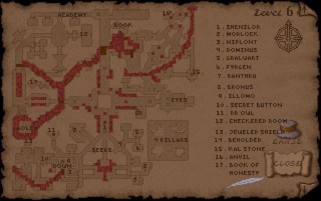 Ultima Underworld Level 6 Map